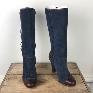 LLBEAN blue leather suede high heeled boots sz 8